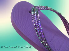 Havaianas  flip flops embellished with Swarovski Crystal Exquisite Purple blue