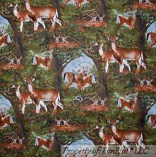 BonEful Fabric FQ Cotton Quilt Green Brown Scenic Deer Buck Tree Hunt Fish Camp