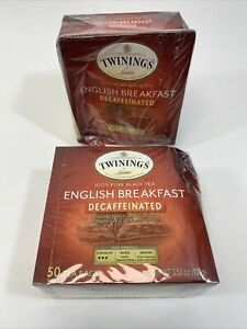 2 TWININGS English Black Tea Breakfast Tea Bags Decaffeinated 50x2 total 100