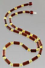 Genuine BALTIC AMBER Men Unisex Cylinder Round Bead Necklace 10.6g 190618-1