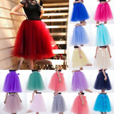 New 7 Layer Tulle Skirt Womens Party Dress 50s Rockabilly Tutu Skirts High Waist