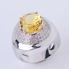 HUCHE Topaz Sapphire Crystal Silver Lovers' Eye Style Women Lady Wedding Rings