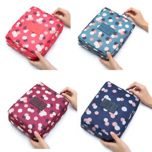 Expandable Make Up Bag Travel Hanging Wash Bag Toiletry Flower Polka Dot Pouch