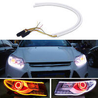 2Pcs 60cm Car Flexible Tube LED Strip DRL Light Switchback Headlight White-Amber