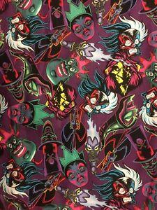 "Licensed Disney Villains Cotton Fabric Fat Quarter FQ18"" x 21"""