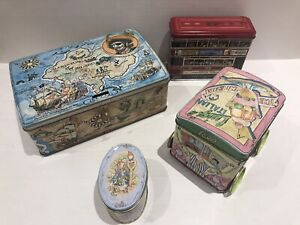 Vintage TIN x4 Silver Crane Tram Toffee Luigis Ices Treasure Chest Peter Rabbit