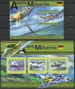 """GUINEA - 2011 MNH """"WWII Military Planes Of GERMANY"""" Two Souvenir Sheets !!"""