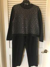 ST JOHN  2-Piece Gray Stretch Knit Casual Pants/Sweater Suit Set NWOT  SIZE Med