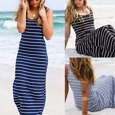 Casual Womens Summer Boho Stripe Long Maxi Dress Evening Party Beach Dresses