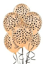 Cheetah Leopard Print Latex Helium Balloons (x6) Apricot Peach Jungle Safari Zoo