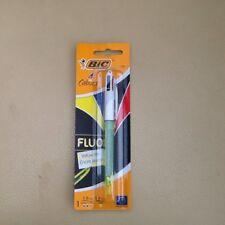 Bolígrafo Bic Fluo 4 Colores Amarillo Negro Azul Rojo Pluma Nuevo