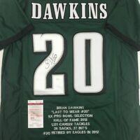 Autographed/Signed BRIAN DAWKINS Philadelphia Green Stat Football Jersey JSA COA