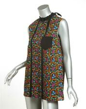 PRADA Black Multi-Color Floral SILK Pleated Button-Back Sleeveless Top 6-42 NEW