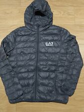 Emporio Armani EA7 Men's GRAY Hooded Padded Down Puffer Jacket SIZE EU XL