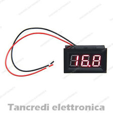 "VOLTMETRO DA PANNELLO 3 DIGIT 4,5V- 30V LED ROSSI 0,56"" PANEL MOTO AUTO tensione"