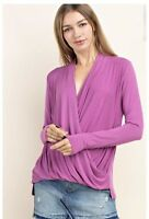 NWT Small Women's Bamboo Pink Long Sleeve Top Boutique Blouse