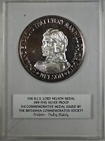 1967 BCS Lord Nelson Medal 999 Fine Silver Proof Britannia Commemorative Medal