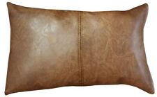 Bangalow Faux Leather Cushion Tan 30x50cm