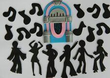 19 edible JUKEBOX MUSIC NOTES disco dancers CAKE CUPCAKE topper decoration ROCK