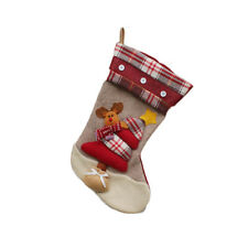 New Large Reindeer Christmas Stockings Gift Sack Luxury Deluxe Red Plaid Design