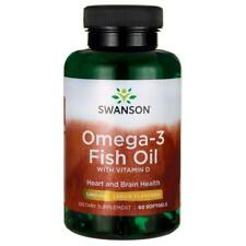 Swanson Omega-3 Fish Oil with Vitamin D Lemon Flavored 1000mg 60 softgels