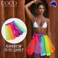 Adult Girl Women Rainbow Tutu Skirt Dressup Costume Ballet Bubble Dancewear AU