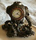 "Nautical 5 1/2"" Steampunk Octopus Diving Bell Clock Antique Statue Estate"
