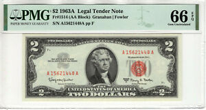 1963 A $2 LEGAL TENDER RED SEAL NOTE CURRENCY FR.1514 AA PMG GEM UNC 66 EPQ