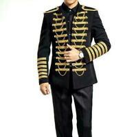 Military Uniform Steampunk Coat Mens Jacket Artillery Formal S-3XL Tunic size sz