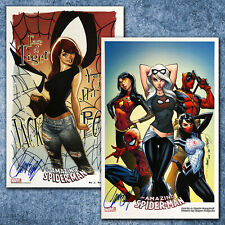 "TWO AMAZING SPIDERMAN PRINTS 11x17"" BOTH SIGNED J. Scott Campbell NM JACKPOT !!!"