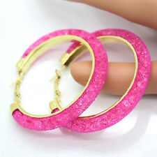 60mm Womens Gold Plated Crystal Big Hoop Circle Earring Party Fashion Jewelry