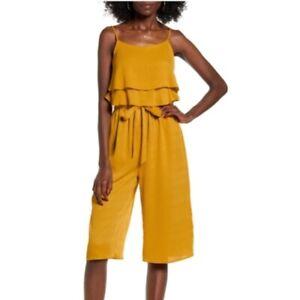 One Clothing Midi Crop Ruffle Jumpsuit Size L Sleeveless Mustard Yellow NEW  B90