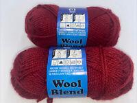2 x 104 yds New Skein Acrylic/Wool Blend Yarn 1.75 oz #4 Medium Dark Red Orange