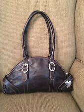 Escada brown leather half moon handbag