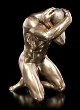 masculine statue Nu - agenouillé avec mains paillettes sur Fil de fer tête -