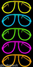 10x Glow in the Dark Glasses - Glow Stick Bright Neon Glasses Parties Festivals