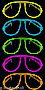 10x Glow in the Dark Glasses - Glow Stick Bright Neon Glasses Parties Festivals