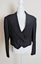 LADIES LOUIS FERAUD WOOL SHORT TUXEDO JACKET BLACK SIZE 14