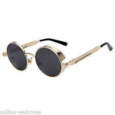 Steampunk Gothic Retro Round Circle Sunglasses Metal Gold Metal Black Lens C1