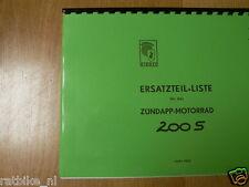 Z0018 ZUNDAPP---ERSATZTEILLISTE---200S  AB FG.885001-MODEL