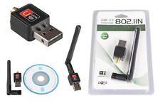 Mini USB WiFi Wireless Adapter Network LAN Card w/Antena (802.11n/g/b 150Mbps)