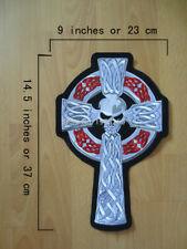 Skull Cross Large Embroidery Patches for Jacket Motorcycle Biker Size 14.5inches