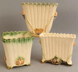 3 Antique 1920's Weller FLORENZO Label Art Pottery Vases, NO RESERVE!