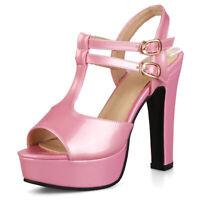Women Gladiator Sandals Platform Open Toe Ankle Strappy Block High Heel Shoes