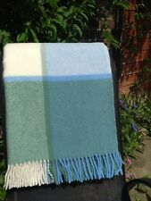 TWEEDMILL Textiles 100% pure new wool sofa throw - block check- sea cream