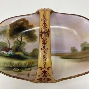Vintage Handpainted Candy Dish Porcelain Country Landscape Made In Nippon 7.5in