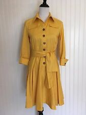 Diane Von Furstenberg Yellow Dress Women's 6 Collared 3/4 Sleeve V-Neck Sash