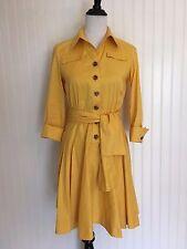 Diane Von Furstenberg Yellow Dress Women's 6 Collared 3/4 Sleeve V-Neck Sash