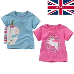 Girls Kids Unicorn T-Shirt Top Short Sleeve Cotton Glitter Pom Poms Ribbons Pink