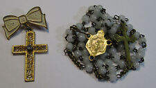† NUN'S 1800s ANTIQUE GLASS TINY BRASS ROSARY & LOVELY DROP CROSS BROOCH PIN †